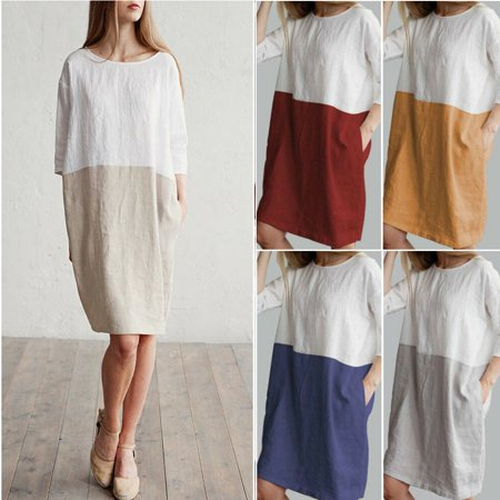 Women Ladies Fashion Casual Middle Sleeve Cotton Clothing Linen Baggy Gored Tunic Dresses Beach Sundress Pure Color Gray (Gray Tunic Dress)