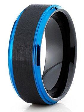 Tungsten Wedding Band Black & Blue Tungsten Ring 8mm Tungsten Carbide Ring Men & Women Comfort Fit