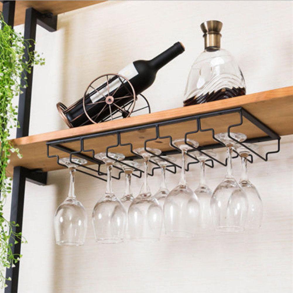 Iron Wall Mount Wine Glass Hanging Holder Goblet Stemware