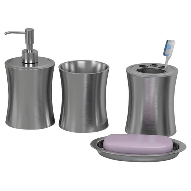 NuSteel EL-3456-SET4 Soap Dish  Tooth Brush Holder  Tumbler & Lotion Pump Elite Set  4 Piece