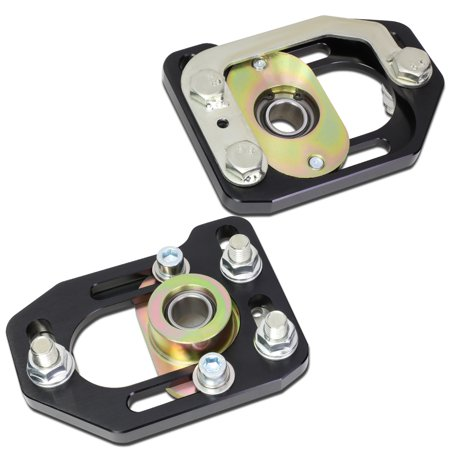 Front Camber Plate (For 1979-1989 Ford Mustang Front Aluminum Adjustable +/-3.00 Camber +/-2.00 Caster Plates Black )