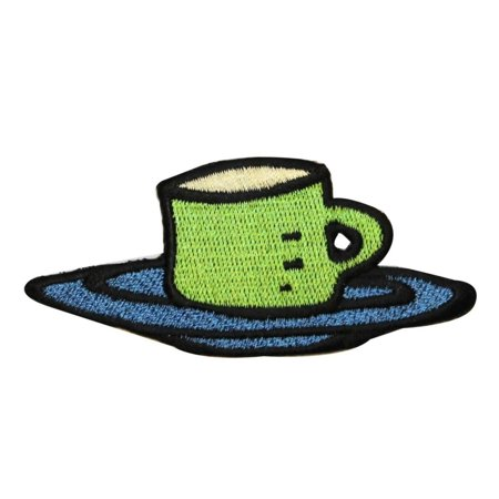 ID 1279 Coffee Cup On Plate Patch Morning Drink Embroidered Iron On Applique