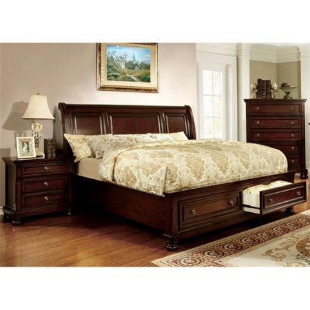 Furniture of America Caiden 3 Piece Queen Bedroom Set in Dark Cherry