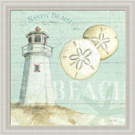 FRAMED Beach House I by Lisa Audit 12x12 Art Print Poster Cottage Coastal Shells Tide Surf Beach Lighthouse Sand Dollar - Lisa Frame