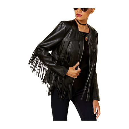 - I-N-C Womens Fringed Motorcycle Jacket