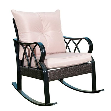 Patio Indoor/Outside Rocking Lounge, Patio Rocker Glider Chair with Thick Tan Cushion/Brown Rattan Wicker/Black Steel Frame