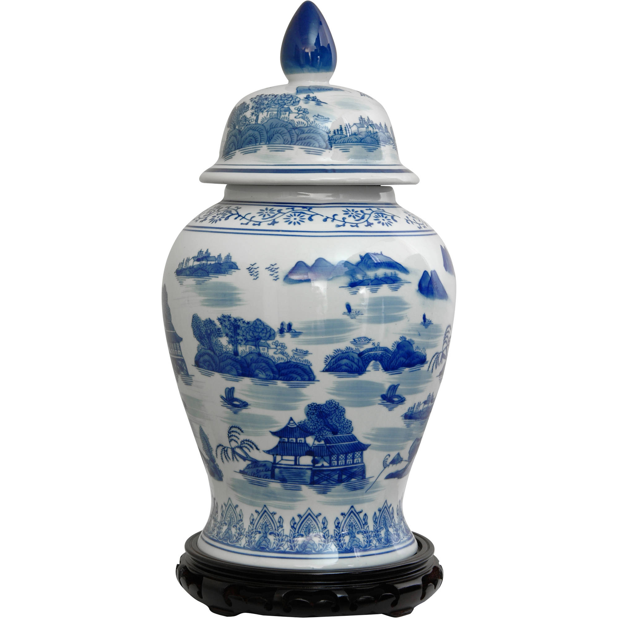 "18"" Landscape Blue & White Porcelain Temple Jar by Oriental Furniture"
