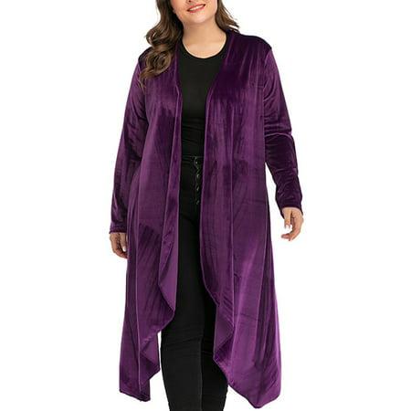 DODOING Women's Solid Plus Size Long Sleeve Waterfall Asymmetric Draped Open Front Cardigan Sweater Lightweight Cardigan Sweater