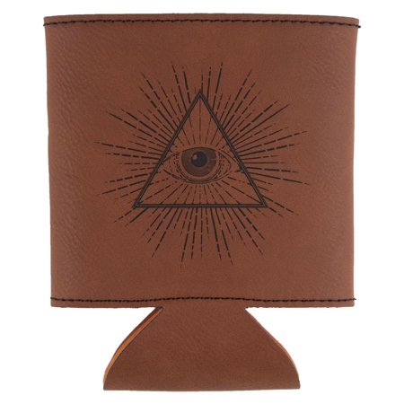 Illuminati Etched Leatherette Can Cooler