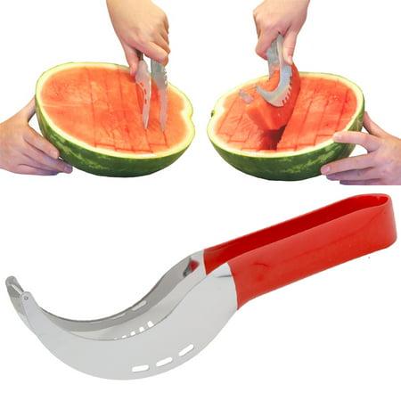Cobble Creek 2-in-1 Melon Slicer Cutter And Server Handheld Fruit Slicer Stainless Steel For Watermelon