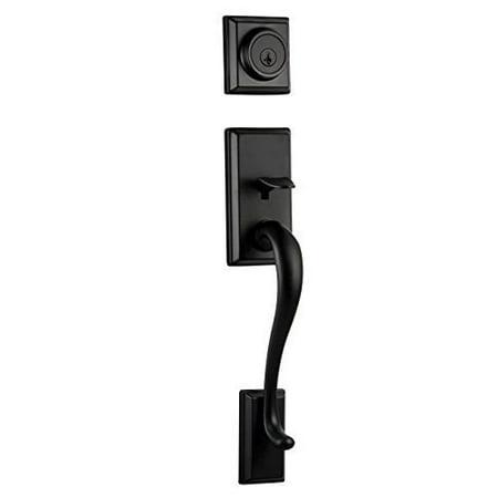 Kwikset 801HELIP-514S Hawthorne Double Cylinder Exterior Handleset Smart Key Iron Black Finish Black Iron Handlesets Double Cylinder