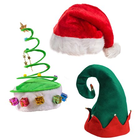 Funny Party Hats - Plush Santa Hat, Felt Elf Hat w/Bells, Green Coil Christmas Tree Hat - 3 pack