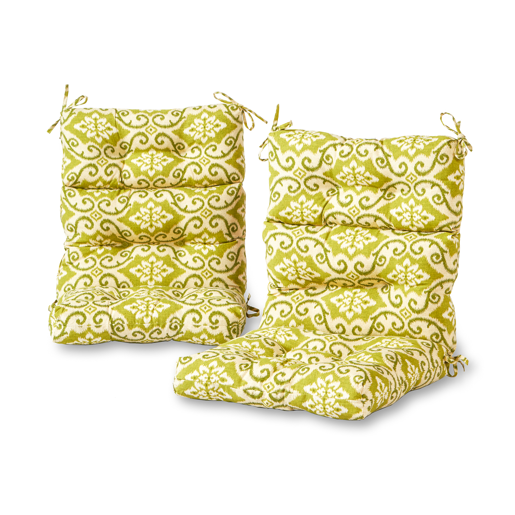 Greendale Home Fashions Green Ikat Outdoor High Back Chair Cushion, Set of 2