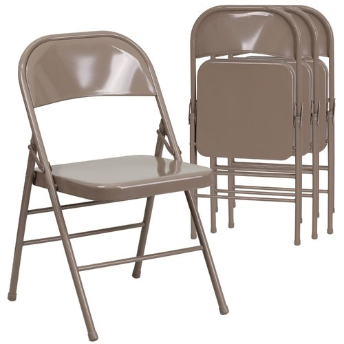 Hercules Hinged Metal Folding Chair - 4-Pack, Beige