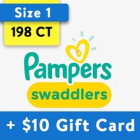 [Save $10] Size 1 Pampers Swaddlers Diapers- 198 Total Diapers