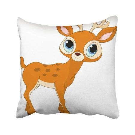 ARTJIA White Cute Of Beautiful Cartoon Deer Brown Christmas Reindeer Head Elk Tail Themes Forest Pillowcase Throw Pillow Cover 18x18 inches](Cute Cartoon Themes)