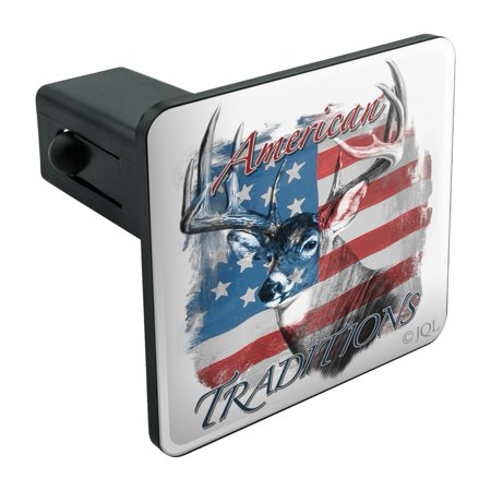 Deer Hitch Cover (Deer USA Flag American Traditions Hunting Tow Trailer Hitch Cover Plug Insert 1 1/4 inch (1.25