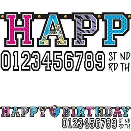 Monster High Kids Birthday Party Jumbo Add An Age Letter Banner 10 Ft. (1ct) (Monster High Birthday Banner)