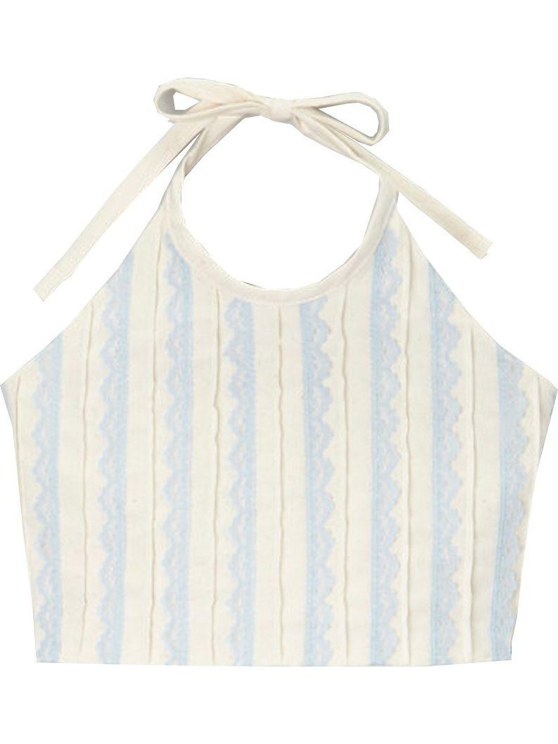 Little Girls Ivory Blue Scallop Detail Halter Tie Sleeveless Shirt 12M-6
