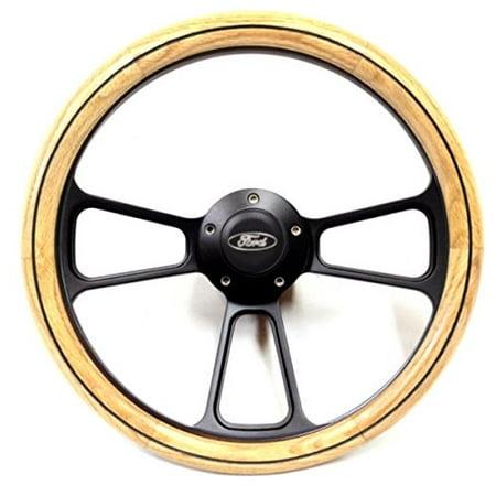 - Ford Hot Rod Rat Rod Steet Rod Oak & Black Billet Steering Wheel - GM Column