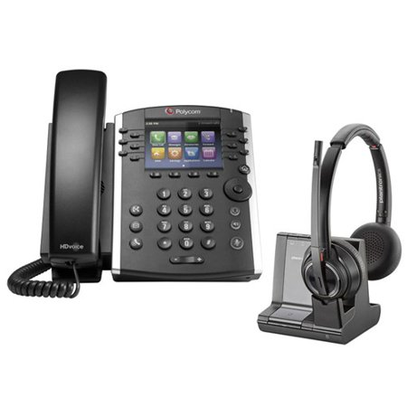 Polycom VVX 401 Corded Voice Over IP Phone with Savi W8220 Wireless Headset Polycom Corded Telephone