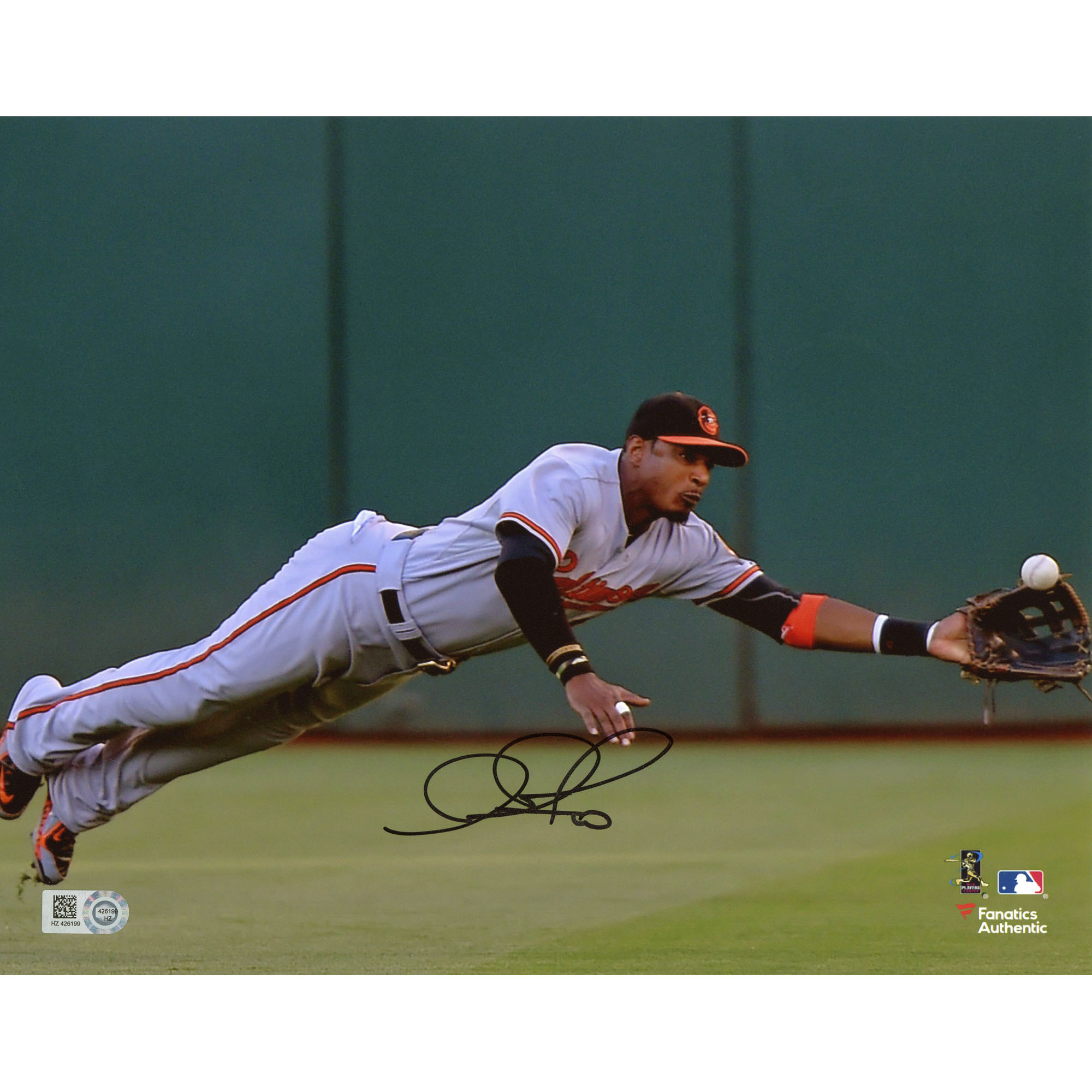 "Adam Jones Baltimore Orioles Fanatics Authentic Autographed 8"" x 10"" Diving for Ball Photograph - No Size"