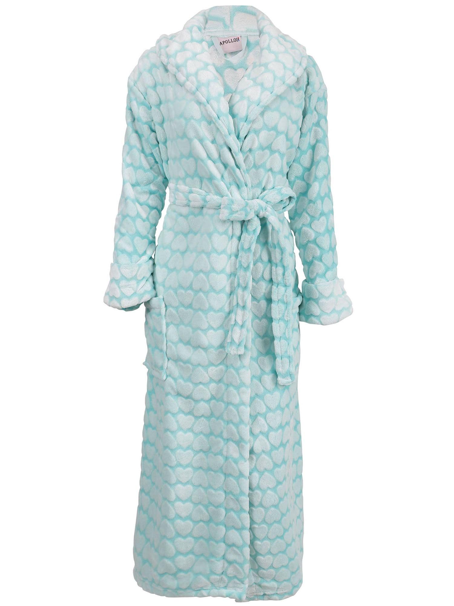 Women's Soft Plush Shawl Collar Bathrobe Kimono Robe Sleepwear,Blue