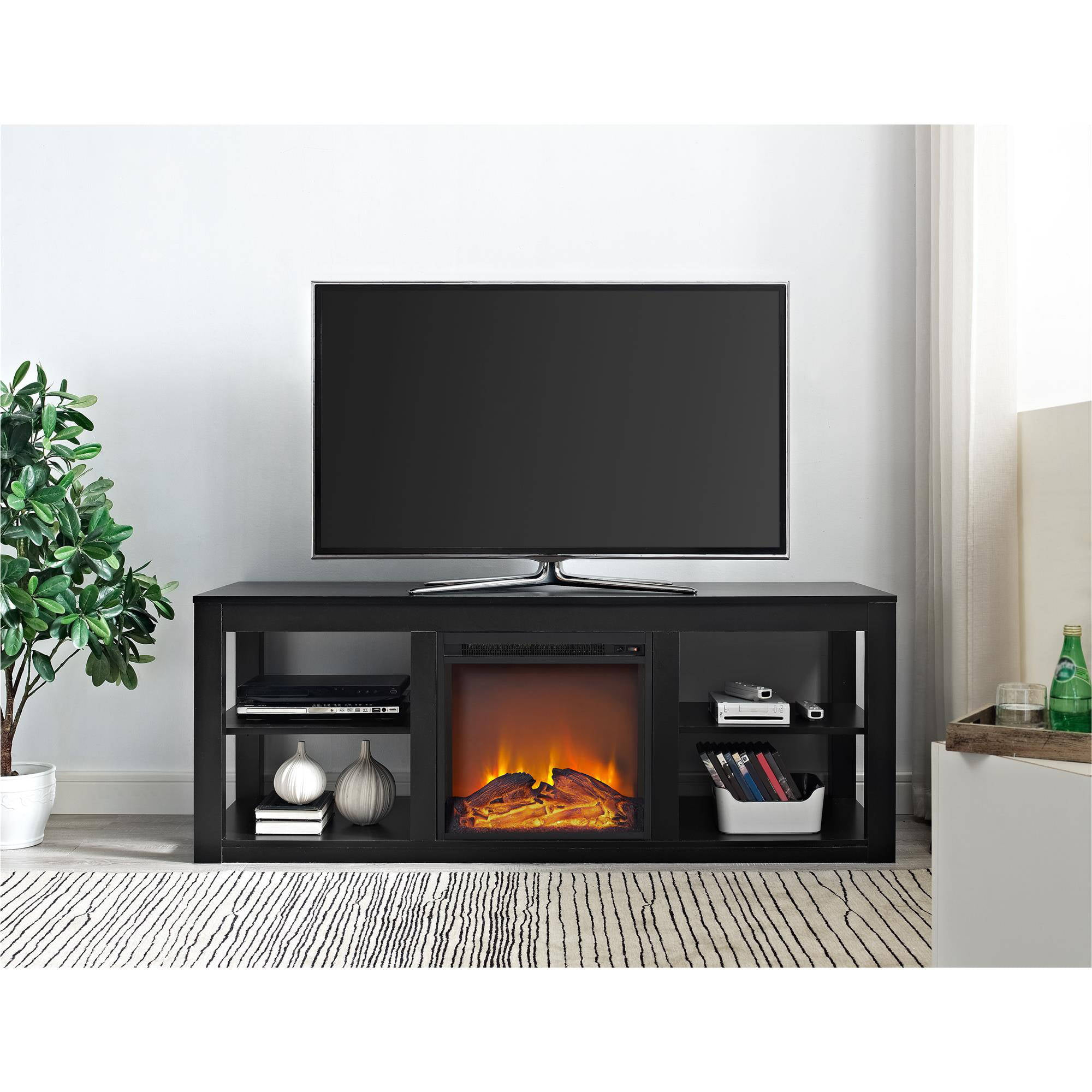 ameriwood home parsons electric fireplace tv stand for tvs up to 65 black ebay. Black Bedroom Furniture Sets. Home Design Ideas