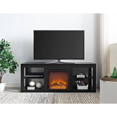 ameriwood home parsons electric fireplace tv stand for tvs up to 65 black. Black Bedroom Furniture Sets. Home Design Ideas