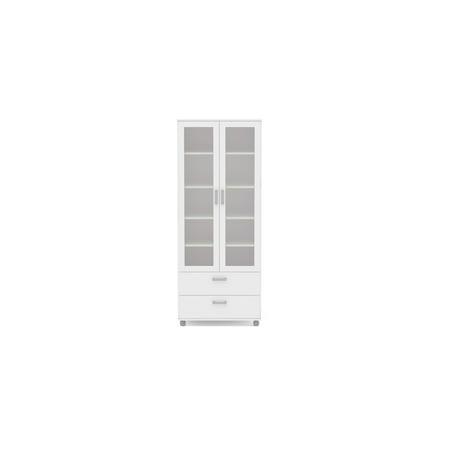 Polifurniture Livramento Bookcase, White Glass Traditional Bookcase
