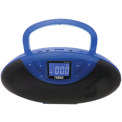 NAXA NAS3057BL Portable Speaker Boom Box with USB Inputs FM Radio & LCD Display (Blue)