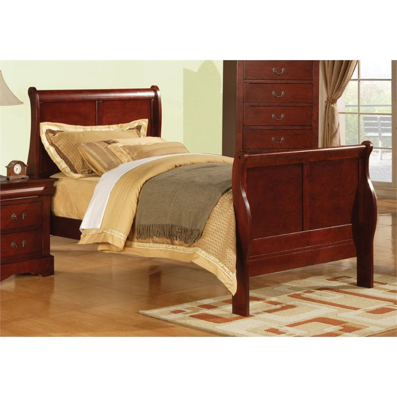 ACME Louis Philippe III Full Sleigh Bed in Cherry by Acme Furniture