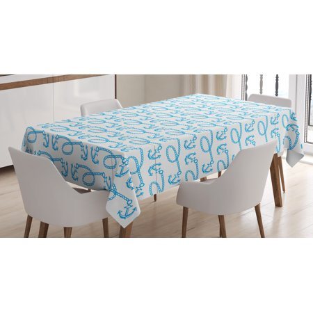 Anchor Tablecloth, Little Anchors with Chains Naval Loops Sailing Theme Cartoon Style Ocean Travel, Rectangular Table Cover for Dining Room Kitchen, 60 X 84 Inches, Pale Blue White, by Ambesonne