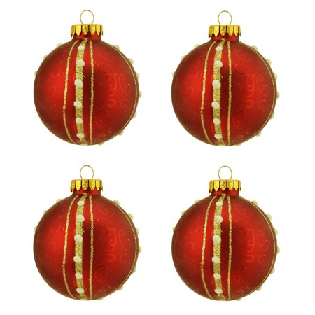 """Northlight 4ct Matte with Swirls and Striped Glass Ball Christmas Ornament Set 2.5"""" - Red/Gold"""