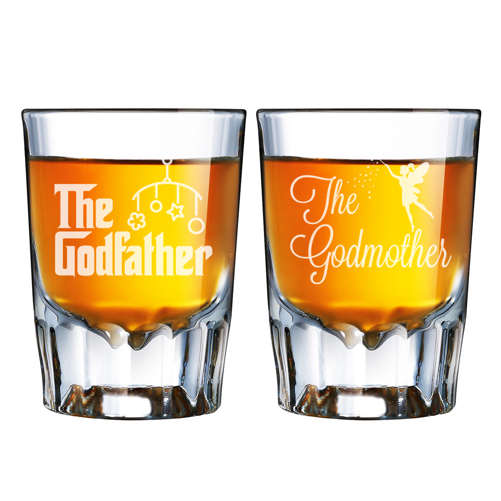 All Gifts The Godfather and The Godmother Engraved Barcraft Fluted Shot Glass Set