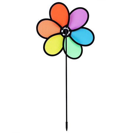 Sonew DIY  Multicolor Flower Windmill Pinwheel Whirligig Garden Windmill Plastic Toy Classic Children, Whirligig, Garden Windmill - image 8 of 11