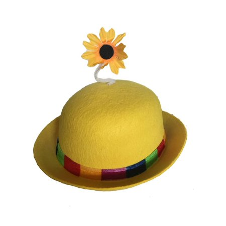 French Clown Bowler Derby Hat with Daisy - Yellow Derby Hat