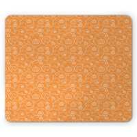 Harvest Mouse Pad, Pattern with Pumpkin Leaves and Swirls on Orange Backdrop Halloween Inspired, Rectangle Non-Slip Rubber Mousepad, Orange White, by Ambesonne