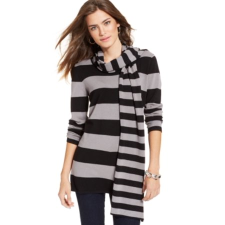 Cable Gauge Sweaters (Cable & Gauge Striped Sweater Black/Gray with Scarf Size M)
