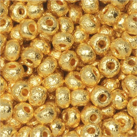Czech Glass, 6/0 Round Seed Beads, 10 Grams, Etched 24K Gold Plated