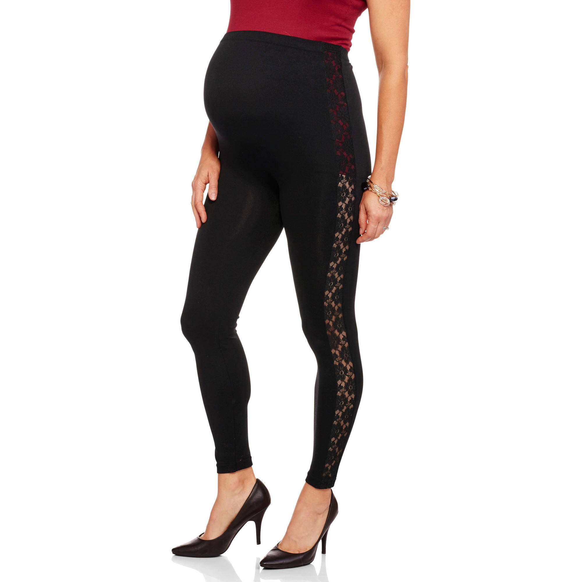 Inspire Maternity Full Panel Leggings with Lace Insert