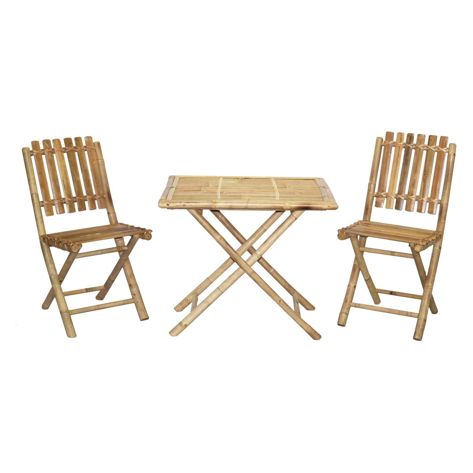 Bamboo54 Wood 3 Piece Square Outdoor Bistro Set with Slatted Chairs
