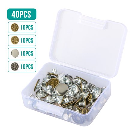 Jeans Button, EEEKit 40 Sets 4 Styles Jeans Button Metal Tack Button Replacement Kit Fixing Tool Sew & Mend Kit with Plastic Storage Box for Jeans Pants Jacket Trousers