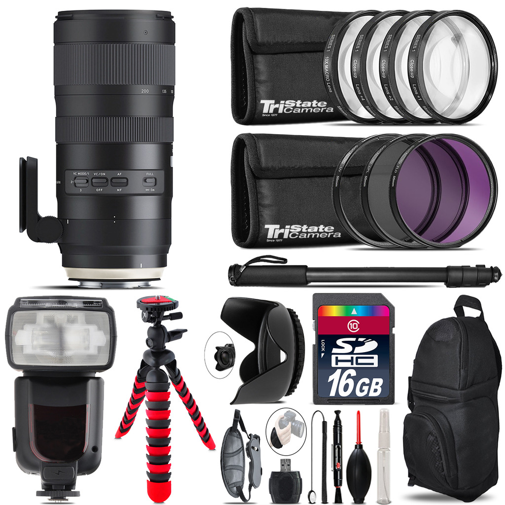 Tamron 70-200mm G2 for Canon + Professional Flash & More 16GB Accessory Kit by Tamron
