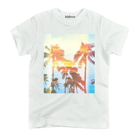 Palm Tree Retro Sunset Ocean Beach Surf Outdoor Vacation Novelty Youth T-Shirt](Sunset Novelties Website)