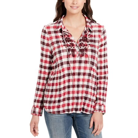 Checkered Blouse - Vintage America Womens Checkered Collar Blouse Red XL