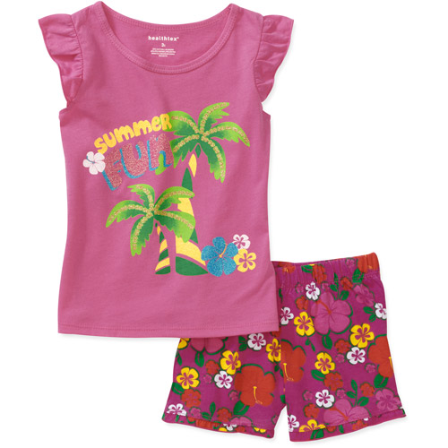 Healthtex Baby Girls 2 Piece Ruffle Tee and Printed Short Set