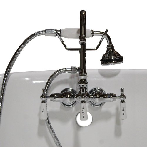 Cambridge Plumbing Clawfoot Wall Mount Brass Tub Faucet with Hand Held Shower