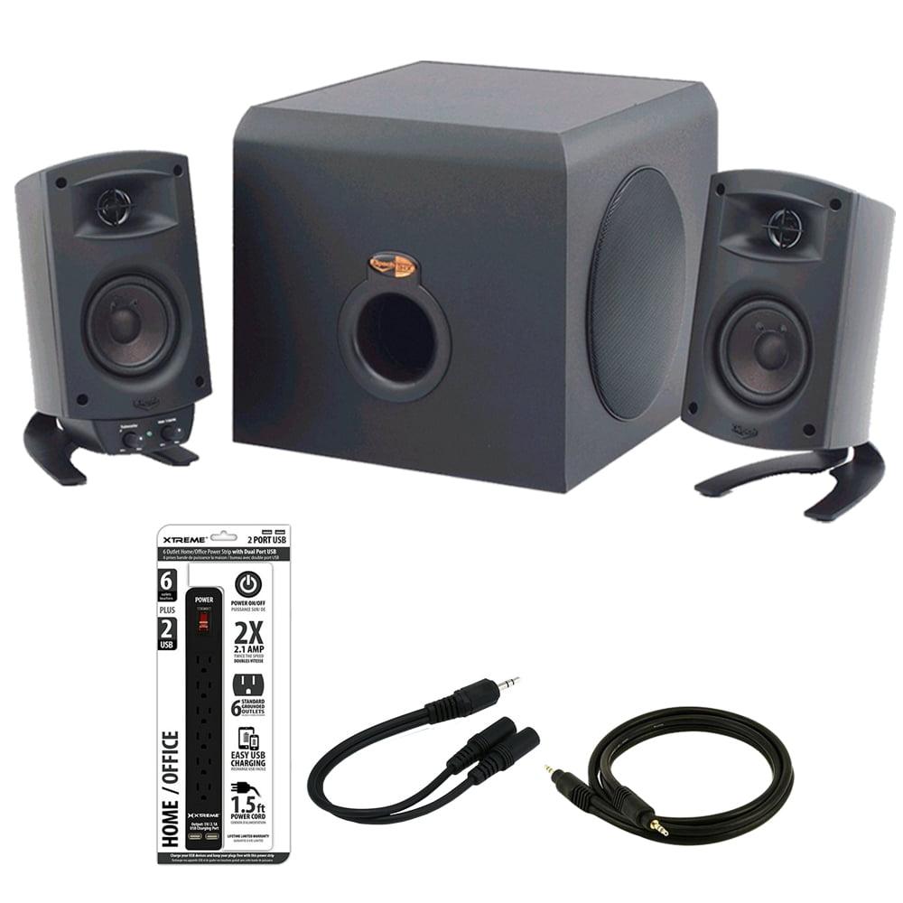 Klipsch ProMedia 2.1 THX Certified Computer Speaker System 3-Piece Set (1011400) Black With Bonus Accessories by Klipsch