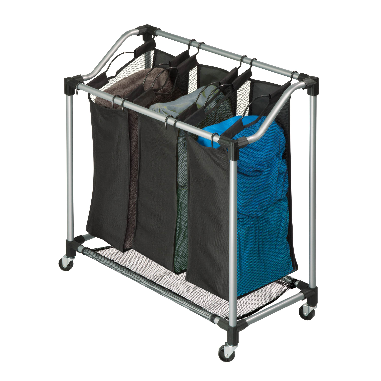 Honey-Can-Do Triple Laundry Sorter, Gray and Black